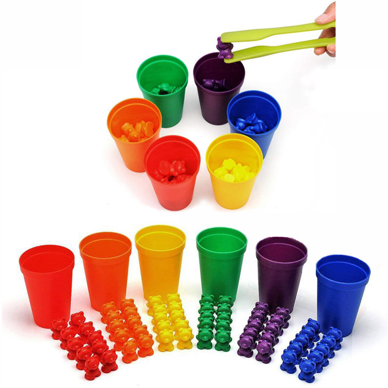 Color Sorting Toys Montessori Rainbow Matching Game Counting Bears With Tweezers Stacking Cups Card For Toddlers Baby