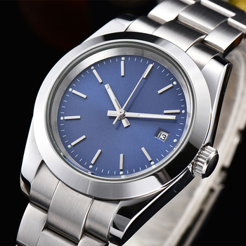mens watch automatic blue dial 39mm stainless steel case and bracket luminous marks hands H5-5