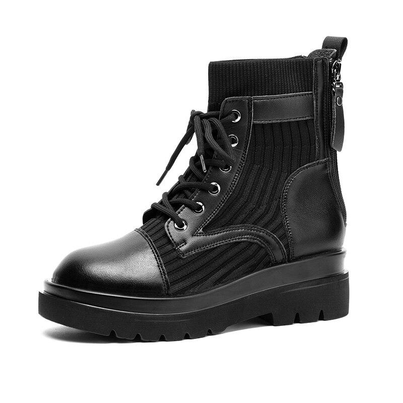Осенне-зимние кожаные ботинки Martin из супер-волокна с двойной молнией женская обувь Студенческие ботинки женская мотоциклетная обувь