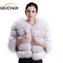 QIUCHEN PJ1801 2020 new arrival women winter real fox fur coat thick fur women winter jacket Free shipping