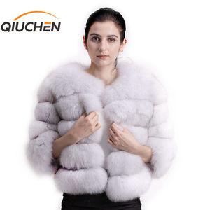 Image 1 - QIUCHEN PJ1801 2020 nouveauté femmes hiver réel manteau de fourrure de renard épais fourrure femmes veste dhiver livraison gratuite