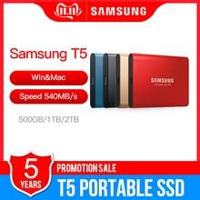 SSD portátil Samsung T5 de 500GB, 1TB, 2TB, USB 3,1, unidades externas de estado sólido, USB 3,1 Gen2 y retrocompatible con PC MAC