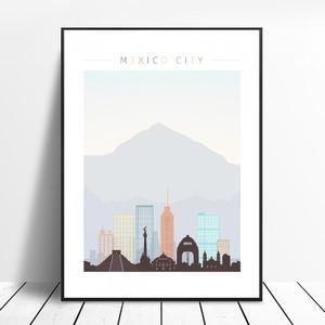Meksyk panorama miasta plakat artystyczny obraz nowoczesny minimalistyczny sypialnia salon dekoracji bez ramki