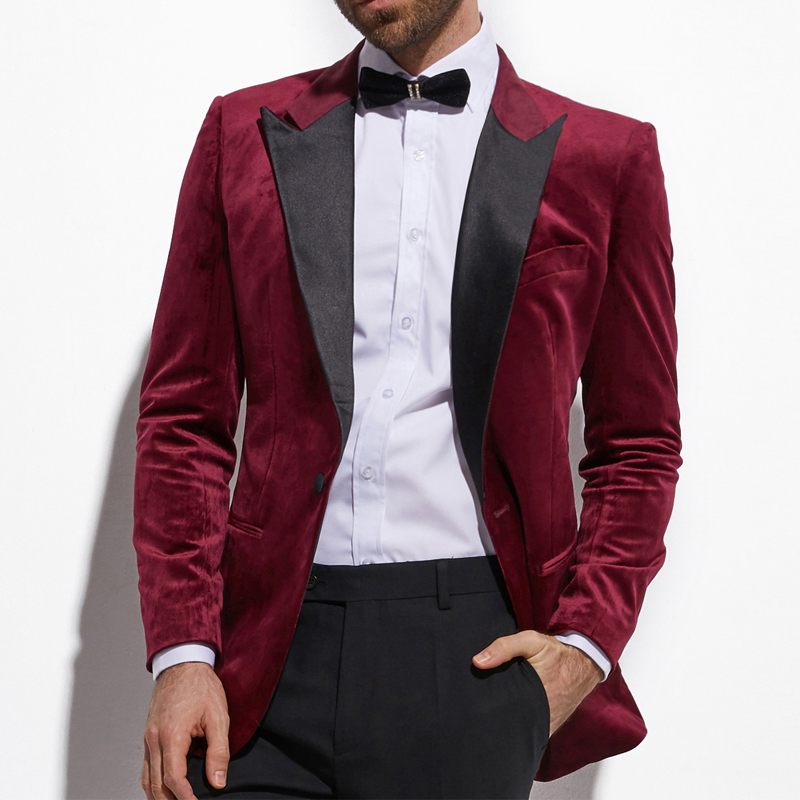 Burgundy Velvet Men Suits For Wedding Prom Party Two Piece Groomsmen Tuxedos Latest Style Male Blazer With Black Pants