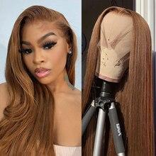 Парики из человеческих волос на сетке спереди, цвет #4, прямые волосы 180% T, парик на сетке, бразильские волосы без повреждений, предварительно ...