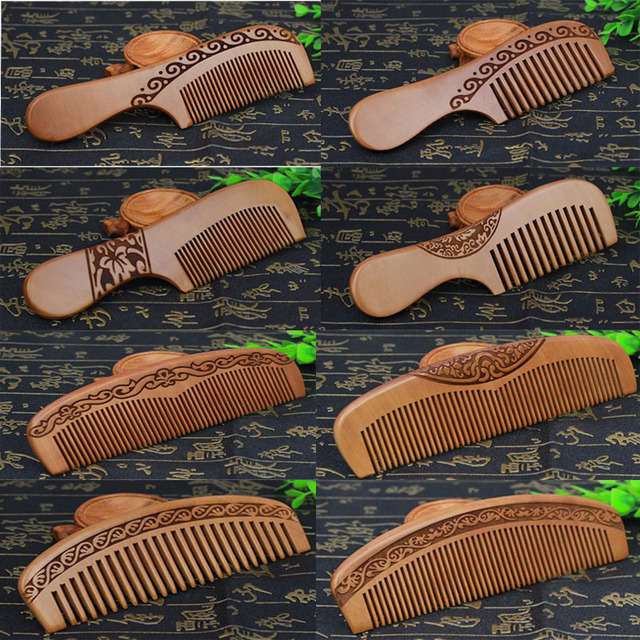 1 PC Natural Peach Wood Handcrafted Fine Tooth Comb Anti-Static Head Massage Classic Comb Hair Styling Hair Care Tool
