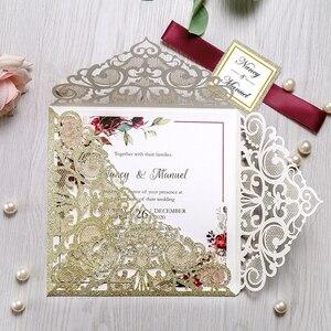 Image 2 - 100 sztuk srebrny kwadratowy papier brokatowy laserowo wycinane zaproszenie ślubne z spersonalizowany ślub Decor zaopatrzenie firm
