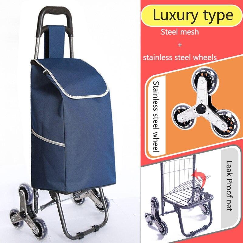 Поднимайтесь вверх, тележка для покупок, большие товары, товары, чехол на колесиках, складная тележка для прицепа, бытовая Портативная сумка для покупок, женская сумка - Цвет: High version 1