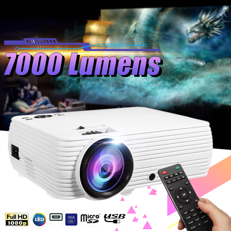2019 Newest X5 LCD Projector Home Cinema Theater Movie LED Proyector HD Projectors AV Support 1080P <font><b>7000</b></font> <font><b>Lumen</b></font> image