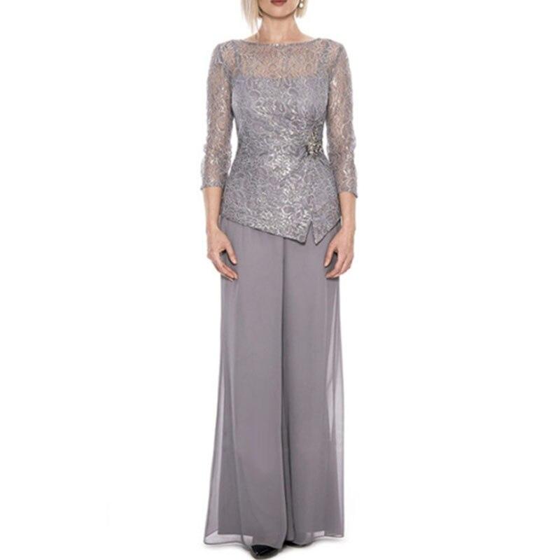 Vestido De Madrinha Plus Size Three Quarter Lace Top Mother Of The Bride Pant Suit Chiffon Formal Women Dress For Wedding Party