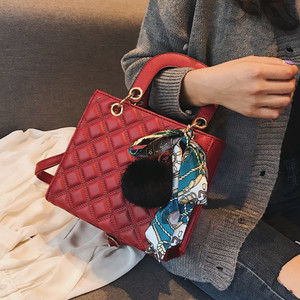Image 2 - Ladies Handbag small Ribbon Hair ball Shoulder bags for women Tote bag PU Leather female Messenger bag Brand Designer bolsa red