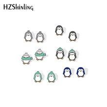 Новые милые акриловые сережки пингвины, Серебряные сережки-гвоздики из эпоксидной смолы, серьги-гвоздики