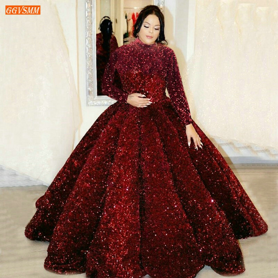 Dubai Sequined Evening Dresses Lace Up Ball Gown Fluffy Sparkly Muslim Women Party Dress Long Sleeves Custom Made Robe De Soiree