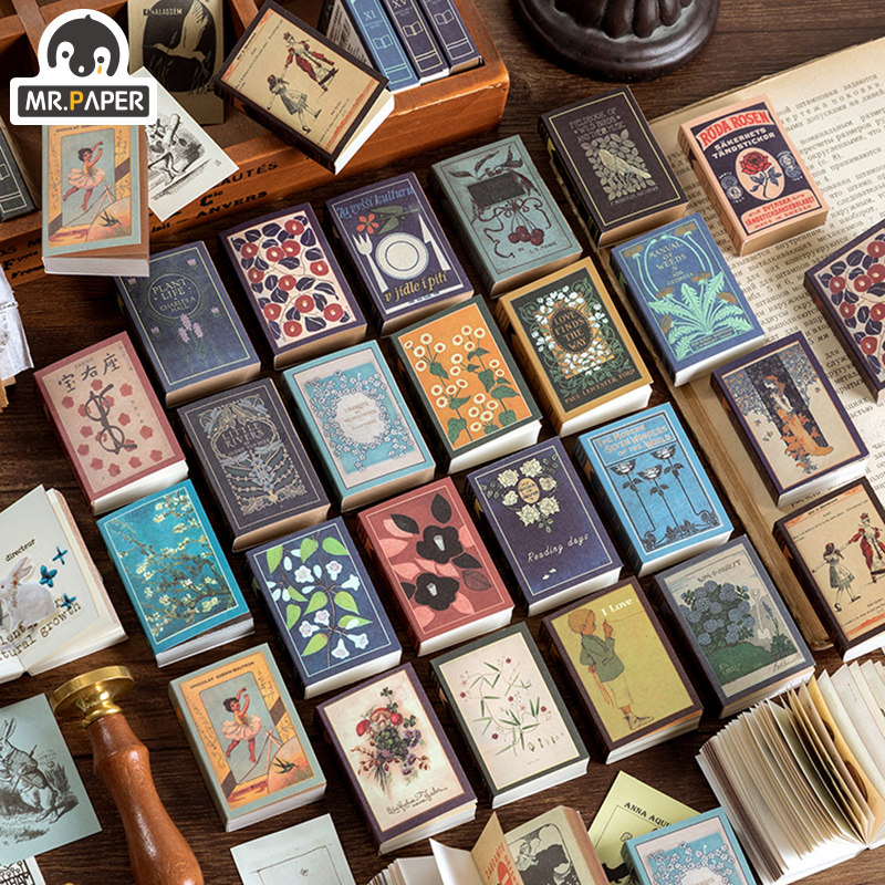 Mr.paper 200pcs Vintage Double Adhesive Tape Matchbox Memo Pad Retro Stationery Loose Leaf Office Accessory School Supplies