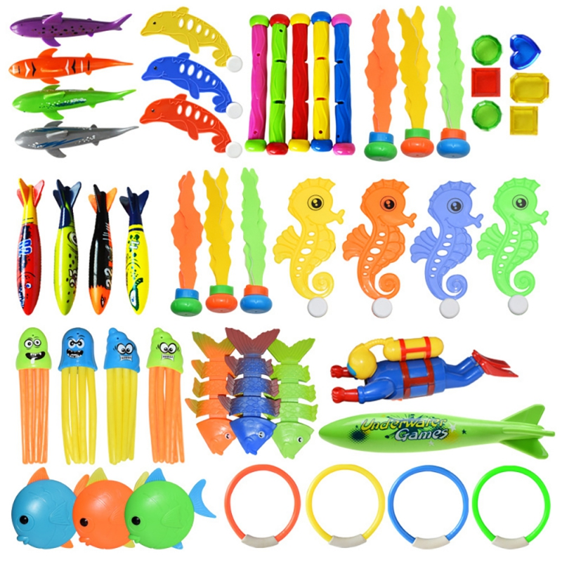 Diving Game Toys Set Swimming Pool Throwing Toy Dive Swim Rings Underwater Summer Dive Accessories Gift For Kids