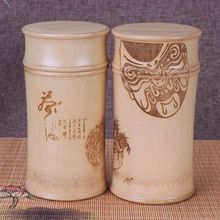 Eco-Friendly Home Storage Jars Nature Bamboo Chinese Tea Canister Chinese Culture Lettering Laser Engraving Beijing Opera