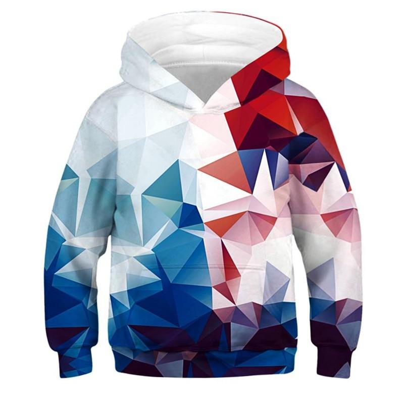 Colorful Diamond 3D Printed Girls Boys Hoodies Teen Streetwear Hip Hop Pullover Long Sleeve Children Sweatshirt Kids Clothes