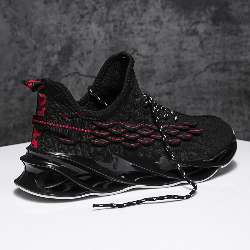 MOYING New Men Lightweight Blade Running Shoes Shockproof Lack Up Breathable Male Sneakers Height Increase Walking Gym Shoes Man