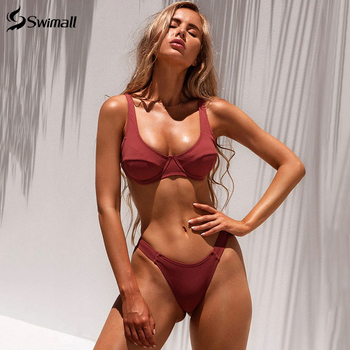 2020  Swimsuit Women Bikini Push-up Padded Bra Bandage Bikini Set Triangle Swimwear Bathing Suit Ribbed Biquini Female
