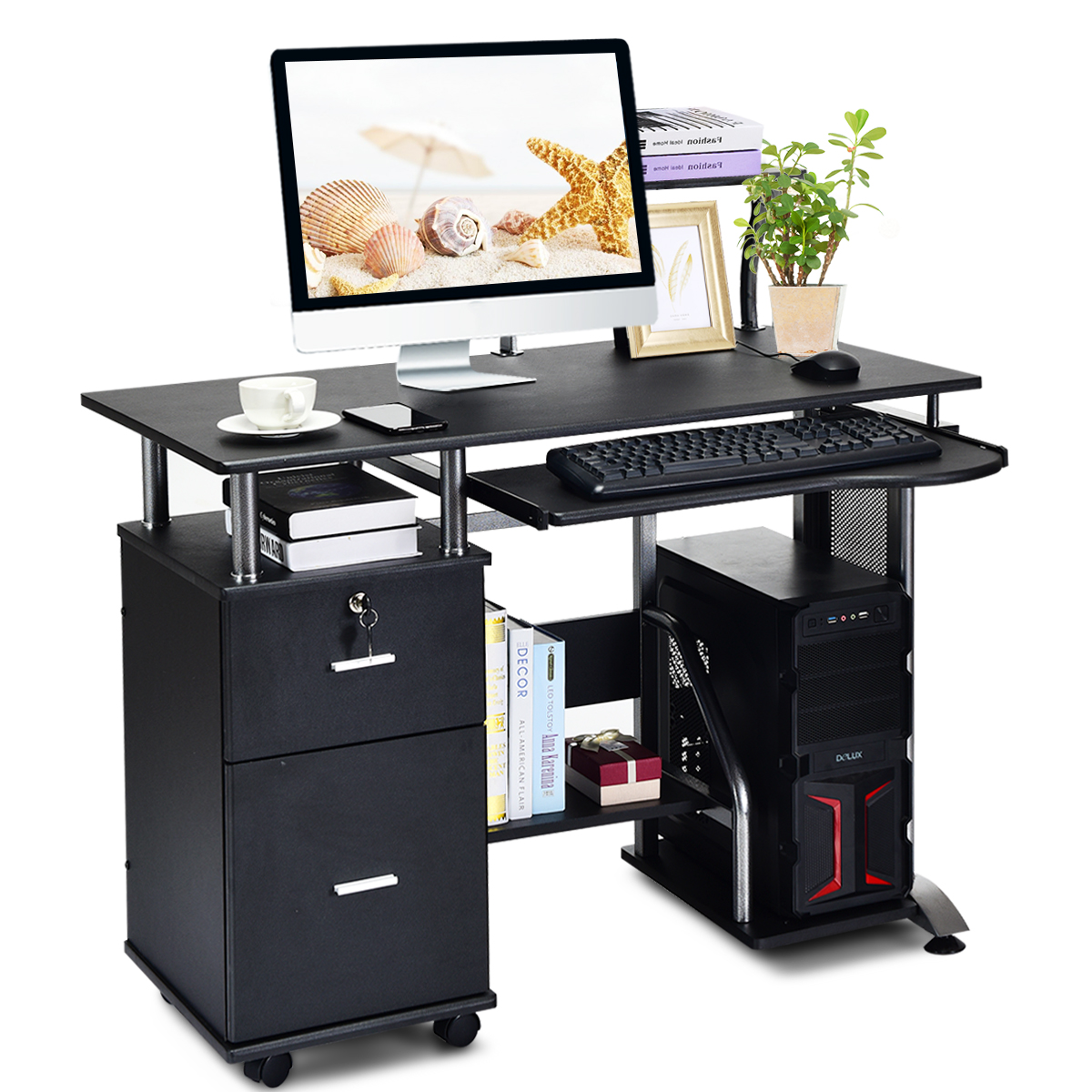 Costway Computer Desk PC Laptop Table WorkStation Home Office Furniture W/ Printer Shelf