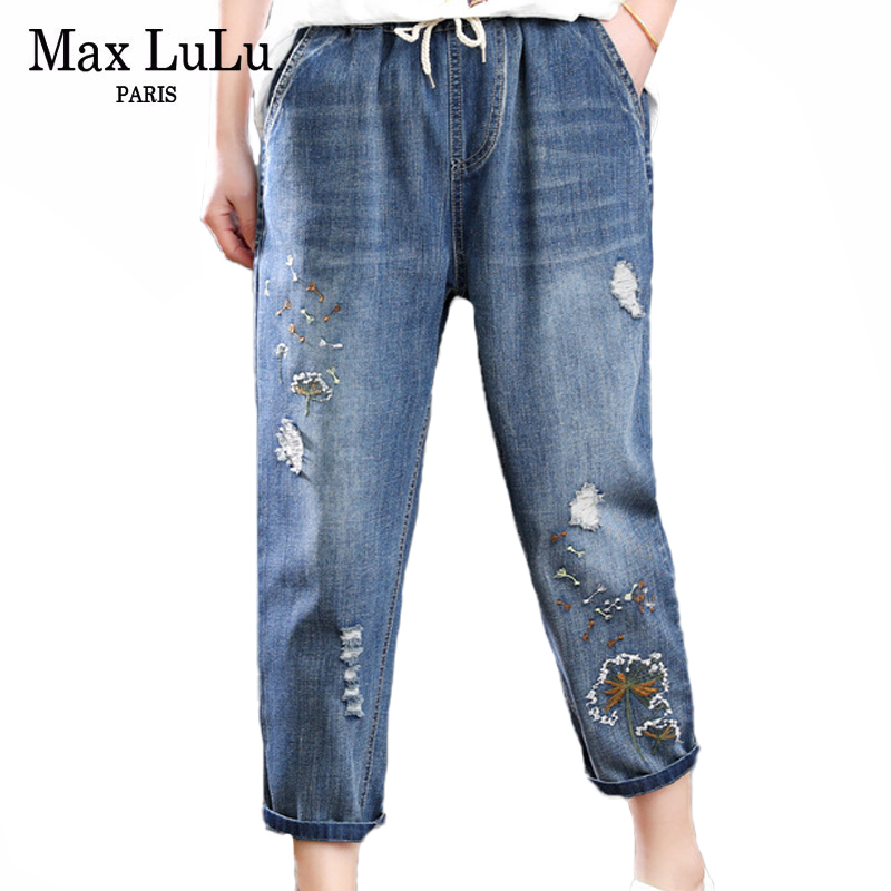 Max LuLu 2020 Summer Fashion Ladies Ripped Holes Jeans Womens Luxury Embroidery Harem Pants Female Loose Elastic Denim Trousers