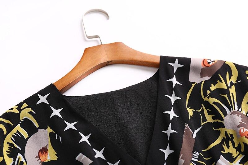 2019 nueva llegada otoño verano moda Vestido largo cuello en V manga larga estrella estampado tobillo Vestido de mujer - 4