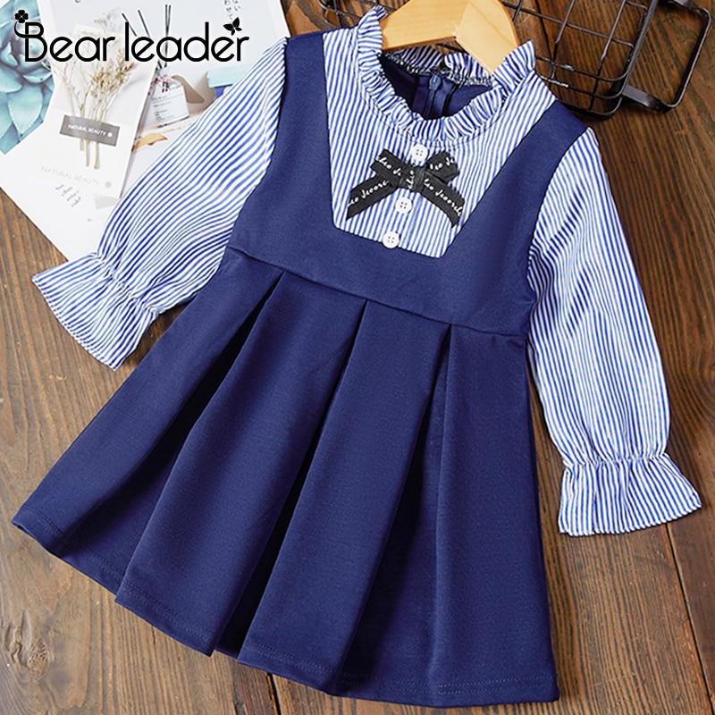 H046ed247098844149befab2caf77d423y Bear Leader Girls Dress 2019 New Autumn Casual Ruffles A-Line Striped Full Sleeve Kids Dress For 3T-7T