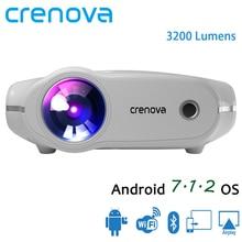 Crenova xpe498 풀 hd 4 k * 2 k 3200 루멘 홈 시어터 영화 비머 안드로이드 7.1.2os proyector 들어 새로운 휴대용 프로젝터