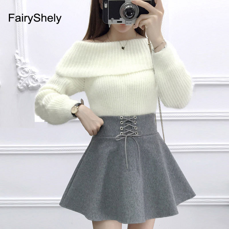 FairyShely 2020 High Waist Umbrella Short Skirt A Word Mini Skirt Wild Waist Woolen Female Flared Poncho Work Office Skirt Lady