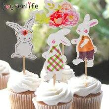 Decoración de cupcakes para Fiesta de Pascua, 24 Uds., adorno de conejo de dibujos animados, Decoración de cumpleaños para niños, pastel de fiesta, Artículos temáticos De conejo de Pascua