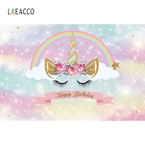 Image 3 - Laeacco unicórnio backdrops para festa de aniversário céu rosa flores estrelas arco íris chá de fraldas fotografia fundos para estúdio de fotos