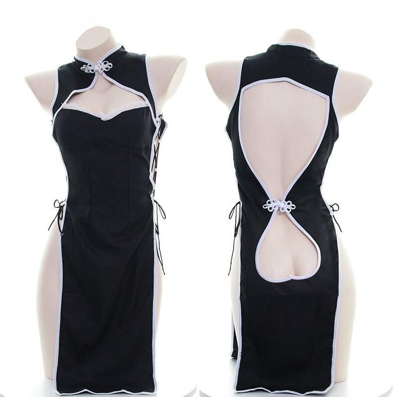 Sexy Split Bandage Mini Dress Qipao Chinese Traditional Cheongsam Lingerie Party Dresses Nightclub Uniform Sexy Costumes Women