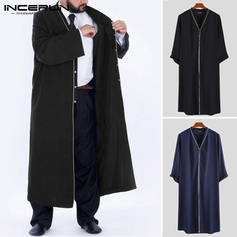 Fashion Men Trench Coats Long Sleeve Button Solid Streetwear Men Muslim Clothes Long Outerwear Windbreaker 2019 INCERUN S-5XL