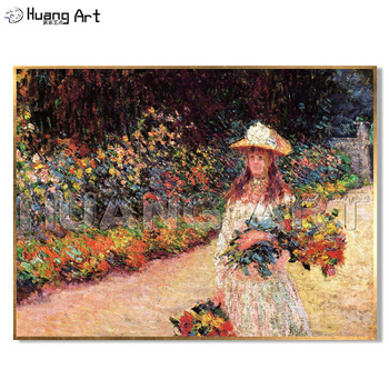 Reproduction Cloud Monet Oil Painting on Canvas Hand-painted Girl Picking Flowers Landscape for Living Room Wall Decoration