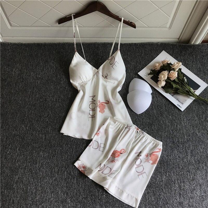 QWEEK Flamingo Pajamas Satin Pijama Mujer Lounge Wear Nightie Sleepwear Pyjamas Set Women Sexy Nightwear Dropshipping