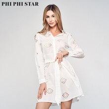 Phi Phi Star Brand Womens Long Sleeve Cotton Shirt Dress Women Clothing Self Tie Eyelet Embroidery White Dress