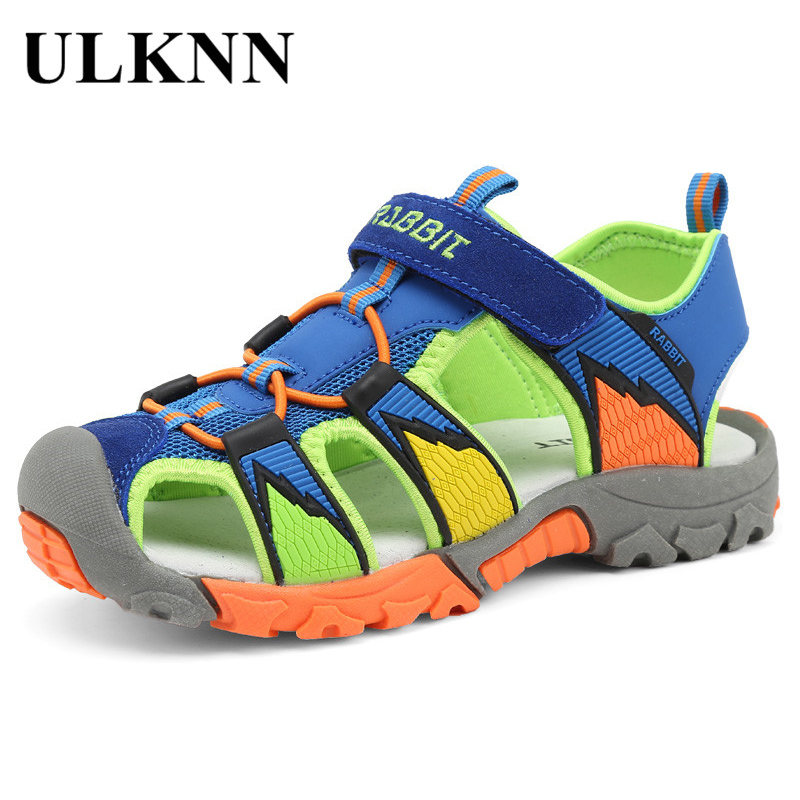 ULKNN Beach Sandals For Boys Summer Kids Shoes Suede Genuine Leather Close Toe Breathable Cut-outs Pig Leather Children Shoes