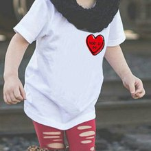 Casual Short Sleeves Pullover T-shirt with Red Heart Shape Print for Boy Girl Unisex Round Collar Soft Cotton Bottoming Top simple design round collar printed short sleeves crop top for women