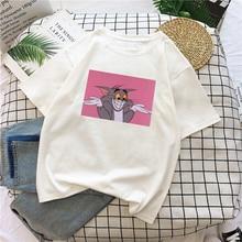 Camisetas de verano informales de dibujos animados con estampado de gato para mujer