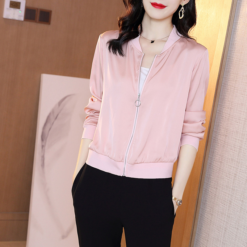 2020 Spring Jacket Women Fashion Solid Satin Pink Lightweight Coat Manteau Femme Basic Jackets Bomber Slim Outerwear Windbreaker