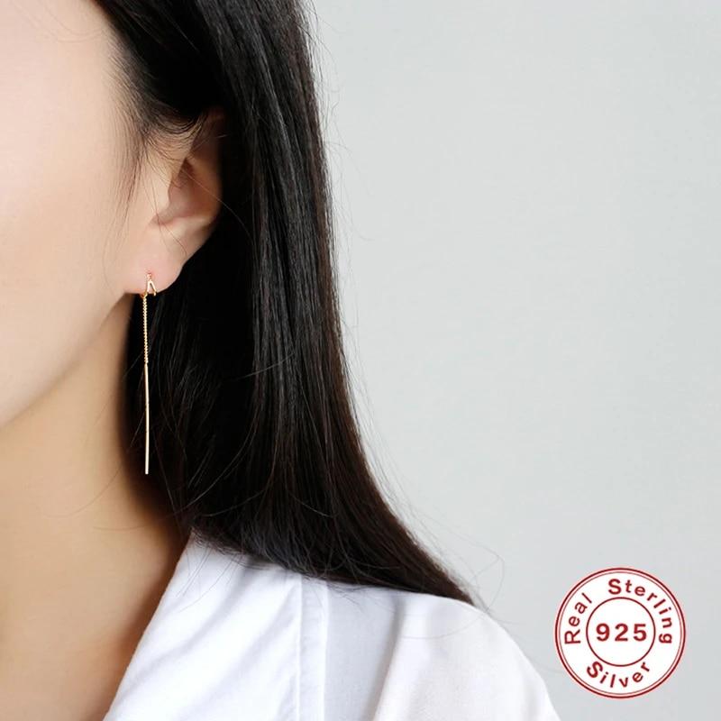 925 Sterling Silver Long Drop Dangle Tassel Earrings Ear Line Stud Jewelry Women