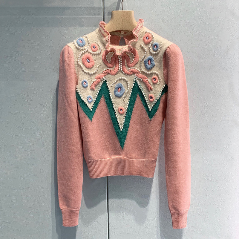 2020 Spring Women's Ruffles Pearls Beading Sweaters Fashion Women High Quality Embroidery Pullovers Sweater B449