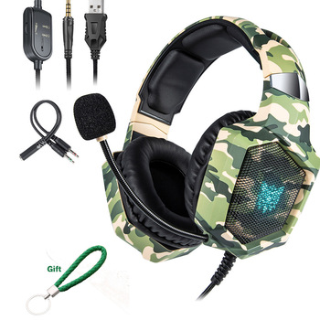 ONIKUMA K8 Gaming Headset ps4 Wired Headphones Camouflage Headset Gamer with Microphone LED Lights for Gamer/PC  XBox xiberia brand gaming headphones nubwo n2u wired usb headset gamer with microphone volume control led for computer laptop fone