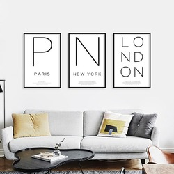 Paris New York London City English Letter Canvas Painting HD Spray Simple City Name Posters Wall Art Pictures Home Decor Mural