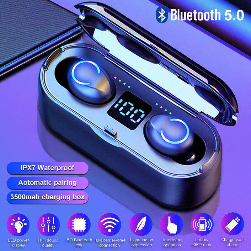 Wireless Headphones With LED Cold Light Bluetooth Earphones 5.0 Stereo Headset Waterproof True Wireless Earbuds For Mobile Phone