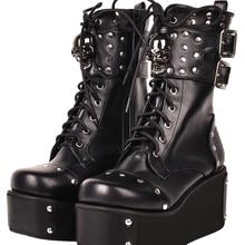 Gothic punk lolita boots winter studded skull platform high boots Lolita Boots Round Toe Lace Up Punk Platform Boots Big Size 44