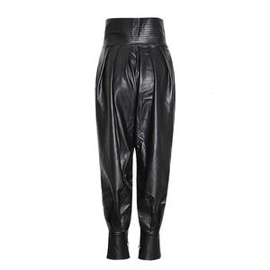 Image 3 - TWOTWINSTYLE Cuoio DELLUNITÀ di elaborazione delle Donne Increspato Figura Intera Pantaloni A Vita Alta Tunica In Pizzo Up Casual Pantaloni Femminile 2020 Abiti di Moda nuovo
