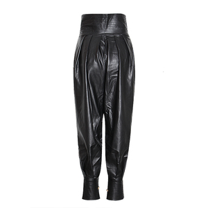 Image 3 - TWOTWINSTYLE PU Leather Ruched Womens Full Length Pant High Waist Tunic Lace Up Casual Trousers Female 2020 Fashion Clothes New