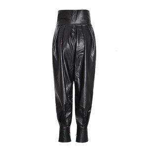 Image 3 - TWOTWINSTYLE PU Leather Ruched damska pełna długość spodnie spódnica z wysokim stanem zasznurować spodnie typu Casual kobieta 2020 modne ciuchy nowe