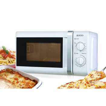 rotary microwave oven fully automatic 6 speed adjustable unified temperature control 20l low power consumption lightweight new Sogo Microwave Oven with Grill, 20L, 700 W, 1000W Grill, 5 tiers power, manual control, Spinning plate 25,5 cm, WHITE